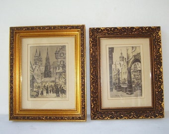 Small Pair Copper Paint Framed Black and White Etched Prints, European Design, Vintage Art, Victorian Dress, Vintage Home Decor,