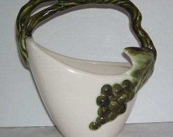 Vintage Hull Tokay Tuscany Basket Planter, Twisted Handle Green Grapes, Home Decor, Hull Pottery, American Pottery, Studio Line Planter