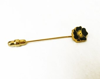 Black Flower Hat Pin, Black Enamel Flower Pin, Hibiscus Vintage Hat Pins, Gold Hat Pin, Black and Gold Flower Pin, Tropical Flower Hat Pin