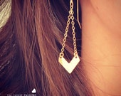 NEW - Small Gold Chevron Earrings - Simple Gold Chevron Shaped Dangle Earrings - Perfect Gift - Minimalist - Gift For - Retro Style - Love