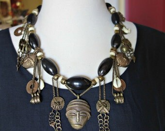 Vintage African Cast Brass Horn Shell Necklace