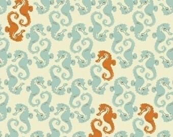 Mendocino Sea Horses in Aqua/Orange - HALF YARD - 40941-7  by Heather Ross for Windham