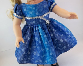 18 inch Doll  Dress Fits American Girl Doll Blue and Silver Stars Christmas Dress