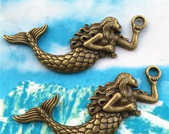 10pcs antiqued bronze 78x34mm Large Mermaid Charms Findings