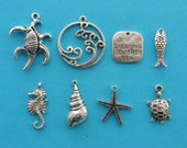 Dreaming of the sea collection - 8 different antique silver tone charms