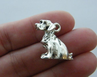 2 Dog charms antique silver tone D37