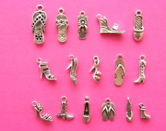 The Ultimate Shoe Collection -  16 different antique silver tone shoe charms