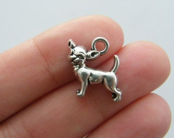 4 Chihuahua dog charms antique silver tone D49