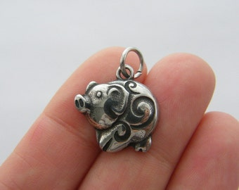 1 Pig charm dark silver tone stainless steel A449