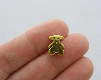 10 Bear spacer beads antique gold tone GC35