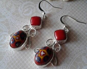 Vintage Glass Tile Earrings