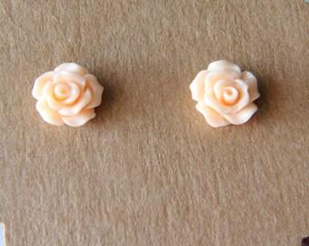 Handmade Rosebud Flower Stud Earrings 10mm Peach