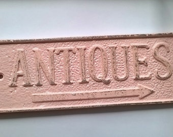 Cast Iron Rustic Antique Sign/ Home Decor/ Wall Decor Plaque Painted in Light Pink