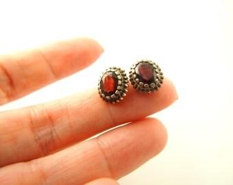 Garnet Earrings - Sterling Silver - Vintage