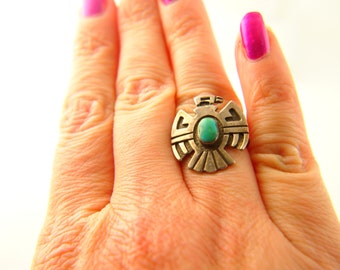 Thunderbird Ring - Turquoise - Sterling Silver - Native American - Vintage