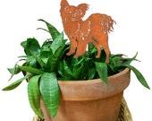 Papillon Ornament or Plant Stake / Dog / Metal / Holiday / Christmas / Rusty / Decor