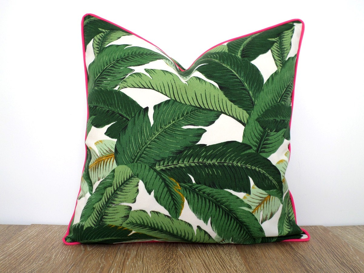 Green Palm Pillow Cover Indoor Outdoor Fabric By Anitascasa