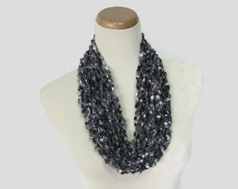 Black Gray Cowl, Hand Knit Cowl, Knit Scarf, Fashion Accessory, Gift For Her, Circle Scarf, Christmas in July