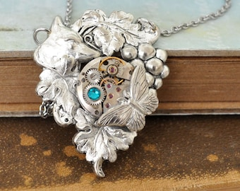 FOX AND GRAPES, antiqued silver Victorian style necklace with vintage watch movement, steampunk necklace, fairytale, story telling