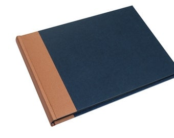 XL large photo album dark blue copper, wedding album, wedding guest book