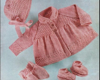 KNITTING Pattern - Matinee coat/Jacket, Bonnet, Bootees and Mitts - 18-20 in Baby Pattern