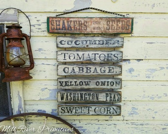 Primitive Aged Shaker Seed Farm Stand Menu Wood Sign with Rusty Chain