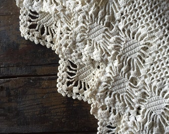 Hand crochet cotton ecru window treatment | valance | cottage decor| whimsy nursery decor