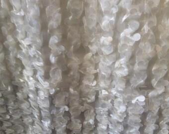 Snow white laser cut SILKY RUFFLED texture TAFFETA fabric, 13-66-01-1012