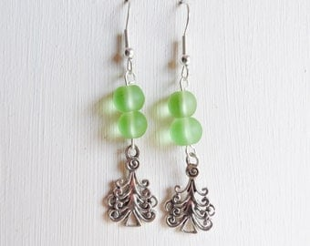 ON SALE - Double Green Czech Glass Bead French Hook Earrings with Christmas Tree Charm, Christmas Jewellery, Christmas in July