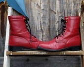 1990's vegan, red, granny boots, women's size 9