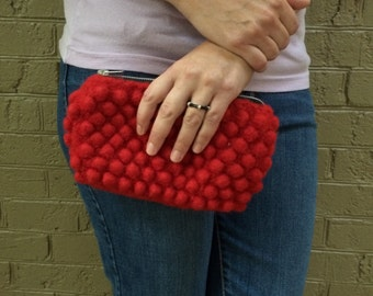 Clutch - Red Wool Felted Bubble Clutch with Silver Accents