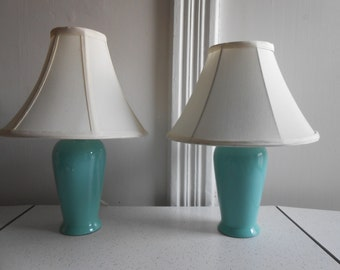 Robin Egg Blue Ceramic/Bone China Lamps with Shades/Set of 2