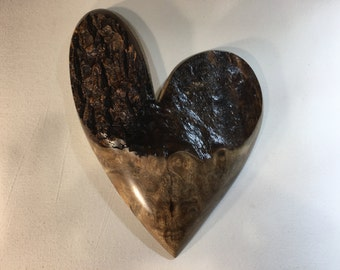 Heart Myrtlewood Anniversary gift wall hanging Love you more gift by Gary Burns the treewiz handmade woodworking