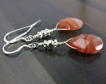 EXOTIC HONEY Red Orange Teardrop Earrings - Banded Red Agate Gemstone Earrings - Sterling Silver Gemstone Jewelry - Autumn Color Jewelry