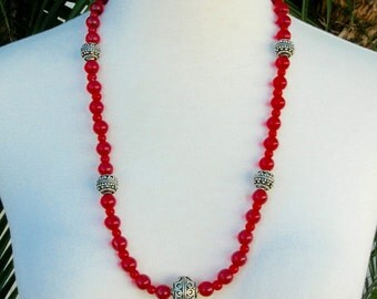 Classic Red Necklace Set, Silver & Glass Beads, Sterling Silver Clasp, Matching Earrings, Holiday Necklace Set by SandraDesigns