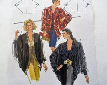 1980s Batwing shrug pattern, evening wear, wedding, cocktail jacket, Burda 4923 misses size 10-24, Bust 33-45 1/2, vintage sewing pattern
