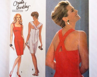 Backless dress pattern, fitted sheath, sleeveless dress, vintage sewing pattern Simplicity 8341 size 10 12 14 bust 32 1/2, 34, 36 uncut FF