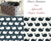 Diaper Caddy, Whale Fabric Basket bin with adjustable and removable dividers Gunmetal