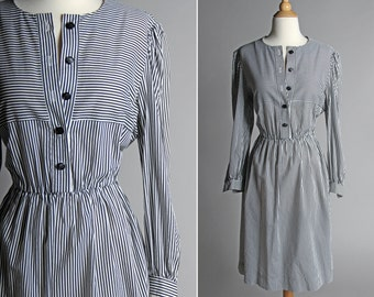 Vintage Striped Day Dress - Summer Flowy White Black Shirt Dress Shirtdress Casual Work Button Up Long Sleeve - Size Large