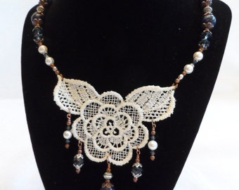 Lace and Pearl Necklace - Copper, Pearl, Sodalite and Swarovski
