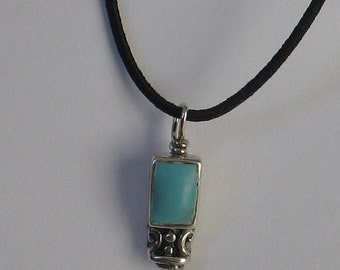 SALE Rescued Upcycled Vintage Sterling Turquoise Charm