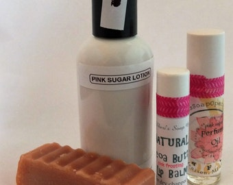 Pink Sugar* Body Gift Set-For Her-Pink Sugar*Perfume (Aquolina type*),Lip Balm,Shampoo Bar,Lotion in Gift Bag