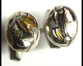 Vintage Mexican 980 Sterling Silver Abalone Inlay Cuff Links Signed RAK Free Shipping