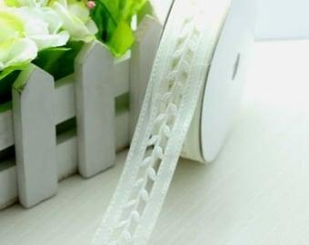 "1"" Satin White Leaf Lace Ribbon Wedding Shower Party Elegant Classy Unique"