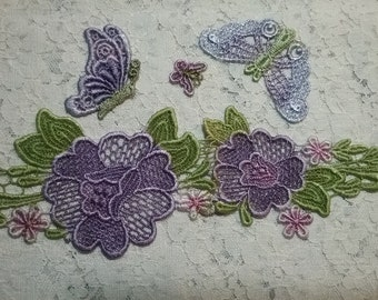 Purple Butterfly Flower Mixed Mdeia Hand Dyed Venise Lace  Embellishment Applique Crazy Quilt Inspiration Kit