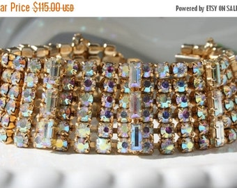 SALE Vintage Aurora Borealis Wide Bracelet Northern Lights Statement Runway Jewelry Wrist Icing