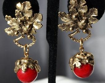Vintage 1928 Jewelry Acorn Drop Dangle Earrings