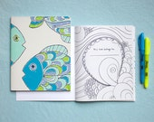 Fish Colouring Book, Children, Vintage Wallpaper Cover