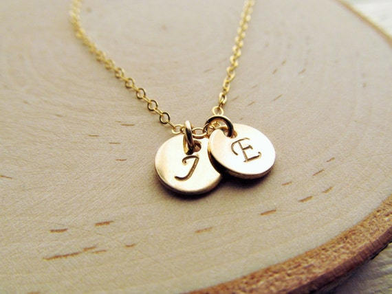Couples Necklace 14kt Gold Filled Initial Necklace Boyfriend