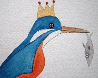 Kingfisher, original bird watercolor, blue and orange, small art, bird with crown and fish, simple, children's, nursery art, whimsical